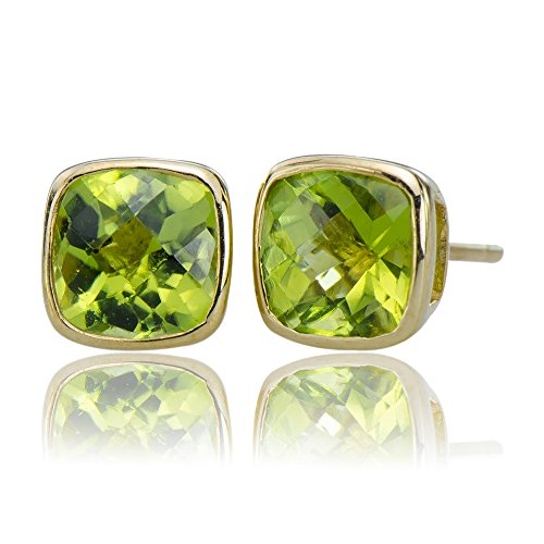 - Magnificent Natural Peridot Gemstones 10K Gold 5.25 cttw Post Stud Earrings