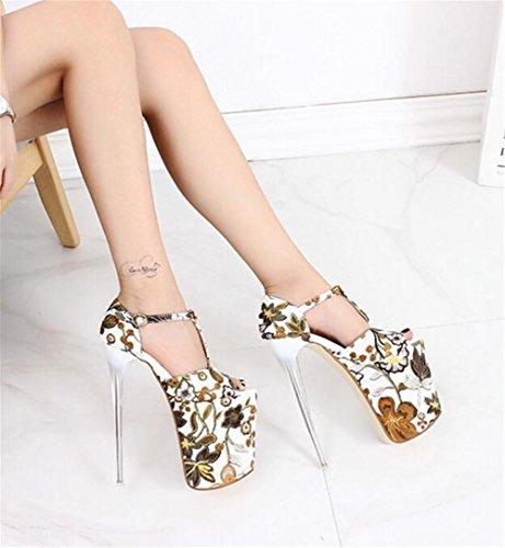 Impression Des Femmes Toe 41 Sandales Fête Talon 35 forme À Pompes Et Pour Open Xie Plate Soirée Haut Club Chaussures Bloc Taille Eu38 wtWEZW8q4x