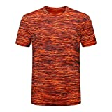 Men's Summer Casual O-Neck T-Shirt Fitness Sport Fast-Dry Breathable Top Blouse, MmNote Orange