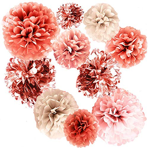 Thepass 20 PCS Rose Gold Party Decorations,Metallic Foil and Tissue Paper Pom Poms,20 pcs of 14, 10, 8, 6 Inch, Paper Flowers, Perfect for Wedding Decor, Birthday Celebration, Table and Wall Decorat