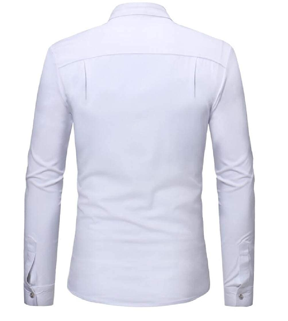 Etecredpow Mens Stand Collar Long-Sleeve Button-Down Pure Color Top Shirt