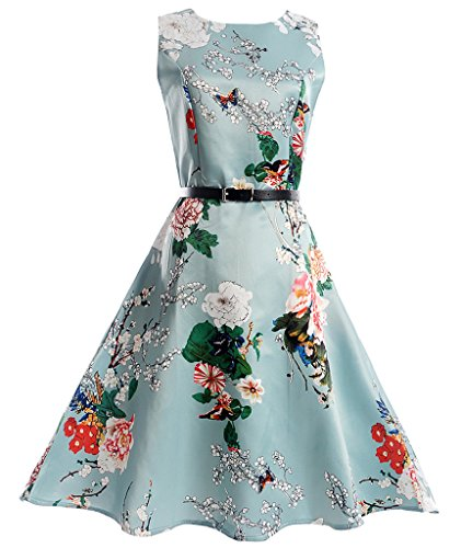 Aqua Floral Dress (FAIRY COUPLE Big Girl's Sleeveless Vintage Floral Swing Party Dresses with Belt KHR002 Aqua Floral 140)