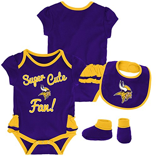 Outerstuff NFL NFL Minnesota Vikings Newborn & Infant Mini Trifecta Bodysuit, Bib, and Bootie Set Regal Purple, 12 Months