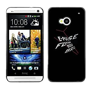 Shell-Star Arte & diseño plástico duro Fundas Cover Cubre Hard Case Cover para HTC One M7 ( Festival Poster Black White Text Red )