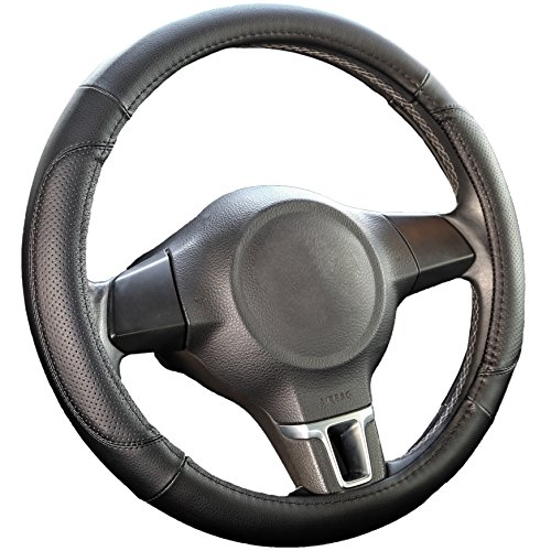 Black Microfiber Leather Car Steering Wheel Cover - Smooth Grip, Odorless, Heat-Resistant Steering Cover - Slim Universal Fit, 15 Inch Diameter by Ingalle Auto