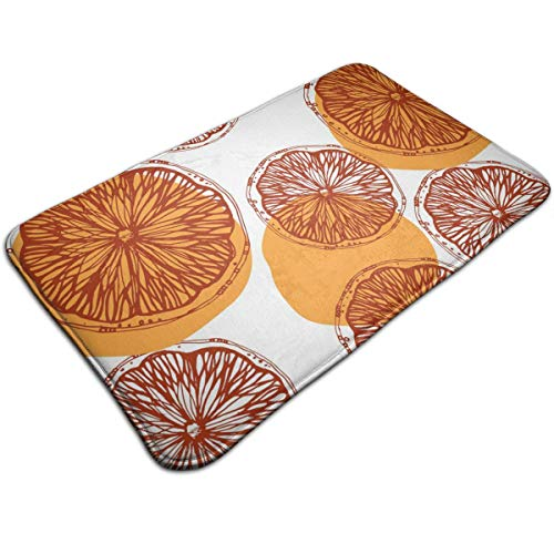 AZOULA Mandarin Orange Pattern Indoor Outdoor Doormat Welcome Doormat Bathroom Mats (Machine-Washable/Non-Slip) 31.5