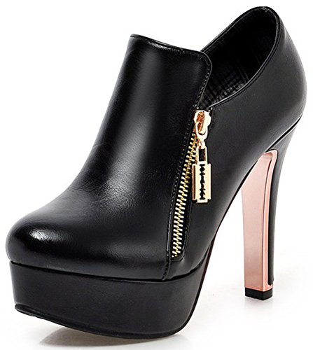 s Sexy Plain Round Toe Booties with Zipper Chunky High Heel Platform OL Ankle Boots Black 8.5 B(M) US (High Heel 1.2 Inch Platform)