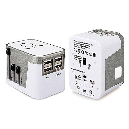 Adaptador Cargador Universal Para AU UE EE. UU. Reino Unido, Travel Adapter 4 USB Puertos Pared CA