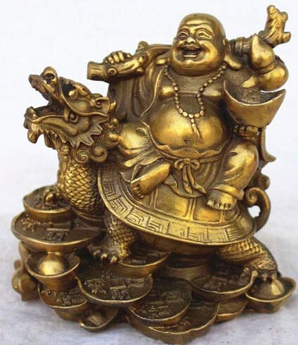 Kiartten Buddha Statue Chinese Copper Wealth Money Happy Laugh Maitreya Buddha On Dragon Turtle Statue ()