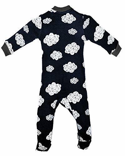 ZippyJamz Organic Baby Footed PJS w/Inseam Zipper ~ Dream Clouds - Navy (12-18 Mos)