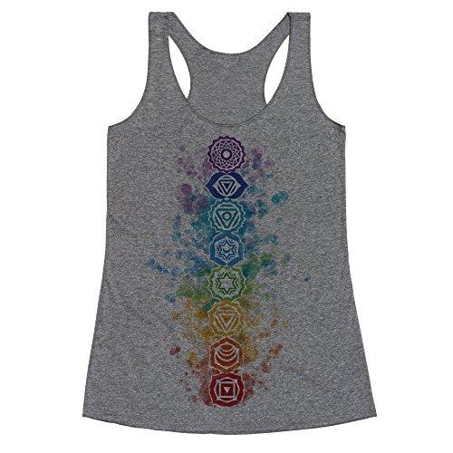 LookHUMAN Watercolor Chakra Symbols Medium Heathered Gray Women