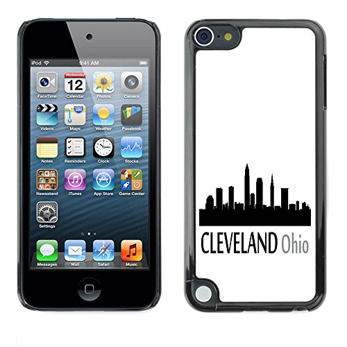 STPlus Cleveland, Ohio USA United States of America City Skyline Silhouette Postcard Hard Cover Case for Apple iPod Touch 5 (Ipod Touch 5 Cases Ohio State)
