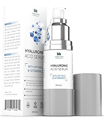 Hyaluronic Acid Serum with Vitamin C & Retinol & Green Tea Extract for skin - BEST Anti-aging formula clinical strength - Anti-wrinkle Treatment 1 fl. oz/30ml by Hamilton Healthcare