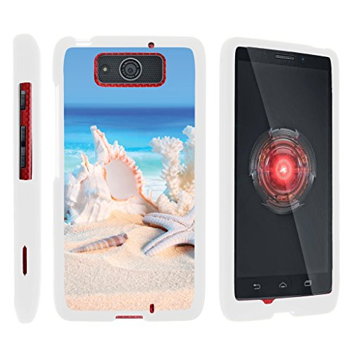 TurtleArmor | Compatible with Motorola Droid Maxx Case | Droid Ultra Case [Slim Duo] Fitted Ultra Slim Hard Cover Snap On Shell on White Beach - Conch Shell