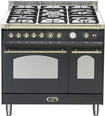 Cocina eléctrica de gas retro de 90 cm/horno doble/color negro/70 ...