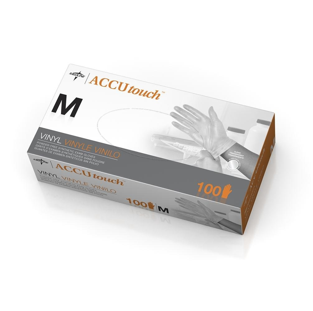 Medline 6MDS192075 Accutouch Synthetic Exam Gloves, Vinyl, Latex Free, 9.5'' Length, Medium, Clear (Pack of 1000)