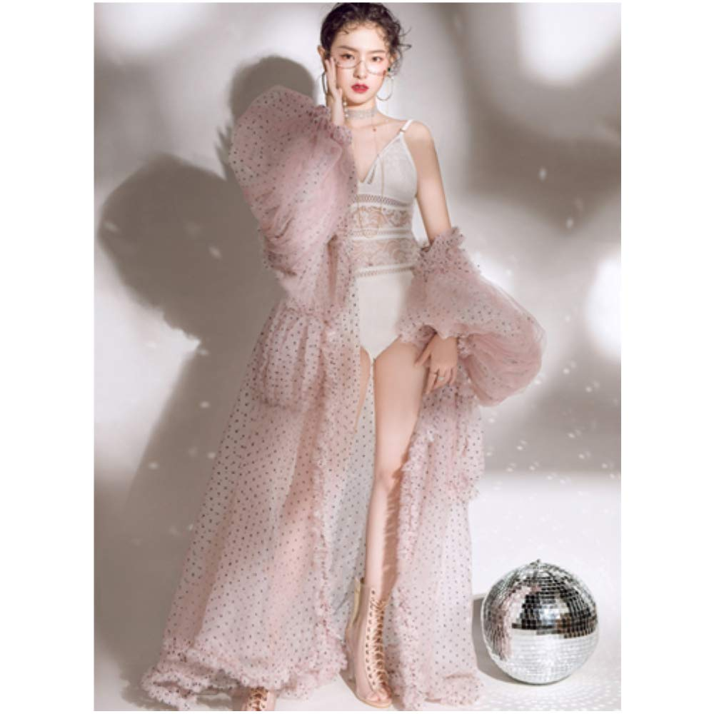 DVOTINST Women Photography Props Maternity Dresses for Studio Shooting Bodysuit Bubble Sleeve Shawls Art Performance Party Dress for Photoshoot White,Pink by DVOTINST (Image #6)