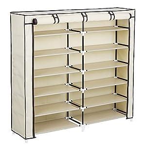 SONGMICS 7 Tiers Portable Shoe Rack Closet with Fabric Cover Shoe Storage Organizer Cabinet URXJ12