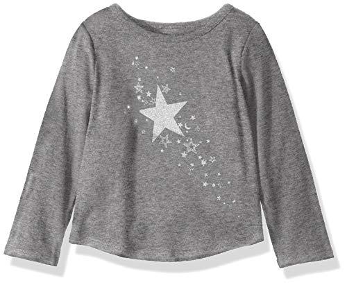- Crazy 8 Girls' Big Long Sleeve Graphic Tee, Grey Stars, S