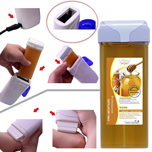 LtrottedJ Roll On Hot Depilatory Wax Cartridge Heater Waxing ,Hair Removal Remove
