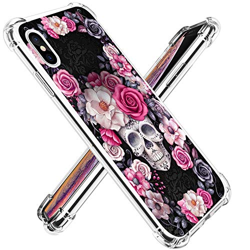 14chvier Compatible with Case iPhone Xs MAX Case Halloween Skull Air Cushion Ultra Slim Clear Protective Soft TPU Case Slim Protective Clear Case Flower Shockproof Protective Case