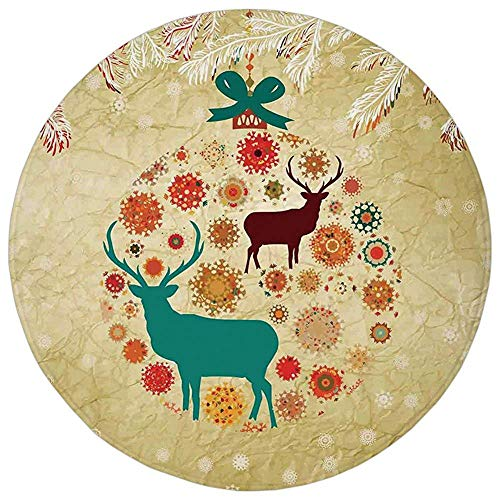 Snowflake Ornament China (YVSXO Round Rug Mat Carpet,Christmas Decorations,Reindeer and Snowflakes in Abstract Balls Ornament Vintage Paper Art Image,Beige,Flannel Microfiber Non-Slip Soft Absorbent,for Kitchen Floor Bathroom)