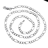 Luxurman 14k 18'' White Solid Gold 2.6mm Diamond Cut Classic Figaro Chain Necklace with Lobster Clasp