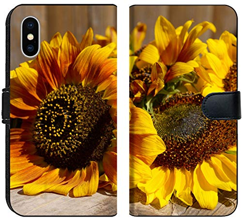 Apple iPhone X Flip Fabric Wallet Case Image ID 32455065 Beautiful Sunflowers on Wooden Bench Outdoors