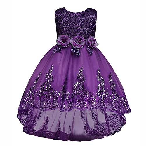 MisShow Purple Flower Girl Dress Sleeveless Evening Party Cocktail A Line Dress (Sweep A-line Sleeveless)