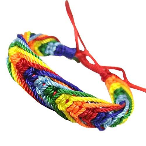 Celendi_Jewelry Rainbow Bracelet Hand-Woven Colorful Rope Red Knot Bracelet ()