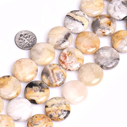 Crzay Lace Agate Beads for Jewelry Making Natural Gemstone Semi Precious 20mm Coin 15