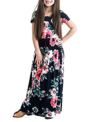 ZESICA Girl's Summer Short Sleeve Floral Printed Empire Waist Long Maxi Dress with Pockets