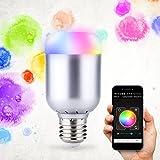 Bluetooth LED Glühlampe, GLISTENY Smart LED Lampe RGB Dimmbar Lampe E27 App-gesteuert Farbwechsel 6W LED Glühbirne Leuchtmittel via Smartphones System für Zuhause, Café, Restaurant, Bar