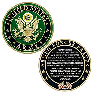 US Army Armed Forces Prayer Coin - Army Valor Challenge Coin - Gift for Soldiers by MVP Studios