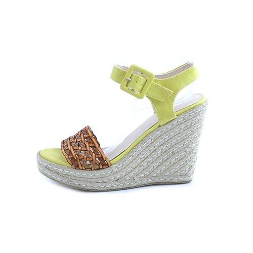 lowest price 3694f 6c3ea Sandali donna Swish in pelle gialla e marrone cuoio ...