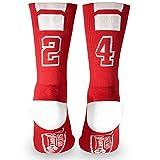 Custom Team Number Crew Socks | Athletic Socks by ChalkTalkSPORTS | Red | 24