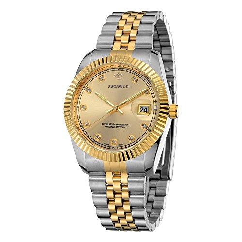 Gents Steel Gold Silver Dial - Fanmis Men's Women's Gold Dial Silver Two Tone Stainless Steel Lexington Wrist Watch