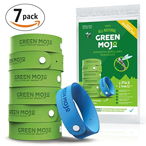 Green Mojo 100% Natural Mosquito Repellent Bracelet - Six (6) Pack + 1 Bonus - Safe & Easy Personal Mosquito Repeller - Extra Wide For Perfect Outdoor Insect Repellent - - Take Camping To Essentials
