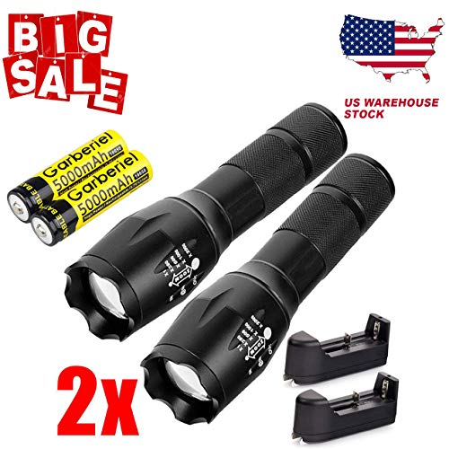 UltraFire Ultrafire Tactical 15000LM T6 Power LED Zoomable Flashlight + 18650&Charger USA (2x Torch+2x Battery+2x Charger)