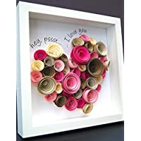 Personalized Valentine's Frame of Large Heart made up of Paper Roses for Wedding Anniversary Engagement Custom Gift