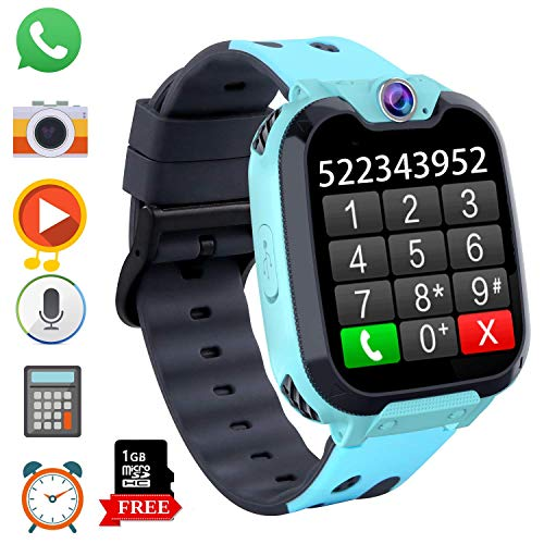 Game Kids Smart Watch Phone for Students, Boys Girls 1.54 inchesTouch Screen Smartwatch with MP3 Player Games Camera Alarm Clock Stopwatch for Electronic Learning Toys Birthday Gifts (S9 Blue) (Calculator Watch For Girls)