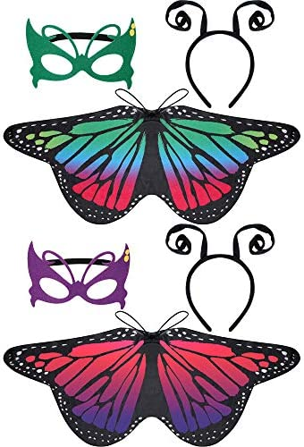 6 Pieces Butterfly Wings Costume with Mask Antenna Headband for Kids Halloween Party