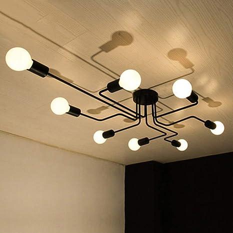 OYIPRO Moderno Candelabro Lámpara de techo Negro 8 E27 Portalámparas para salón comedor Restaurante cafeteria (sin bombilla)