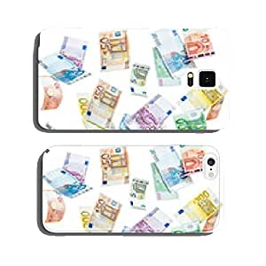 Euro banknotes in front of a white background cell phone cover case Samsung S5