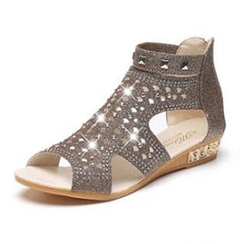 Mujeres Gladiador Sandalias cuña tacón Roma Zapatos Moda ...