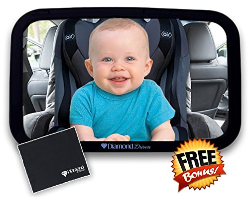 Baby Mirror for Car - Safety with Secure Headrest Double-Strap, Rear Facing Car Seat Mirror - Large, Clear & Convex Back View Mirror - Adjustable & Shatterproof Infant Car Mirror By Diamond Driven
