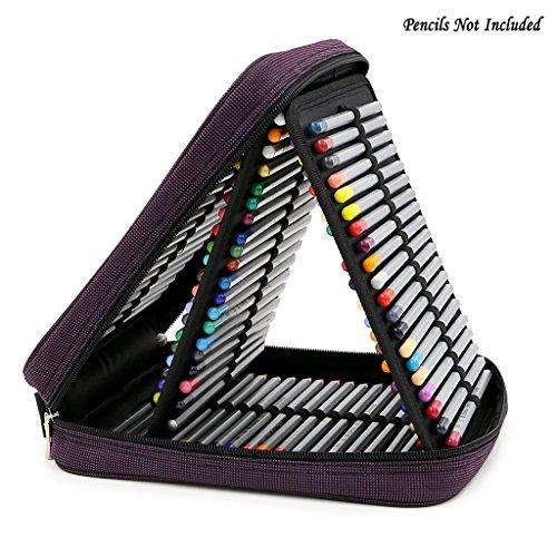 BTSKY® Handy Deluxe Colored Pencil Case--120 Slot Watercolor Pencil Bags Large With Zipper (Purple)