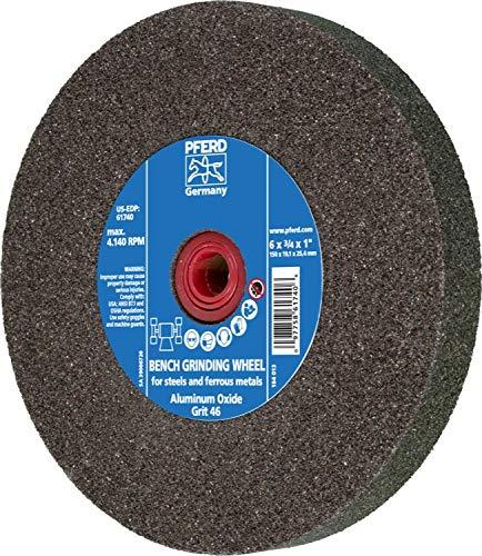 3//4 Thick 1 Arbor Hole 6 Diameter PFERD 61740 Bench Grinding Wheel 46 Grit Aluminum Oxide 4140 Maximum rpm 6 Diameter 3//4 Thick 1 Arbor Hole PFERD Inc.