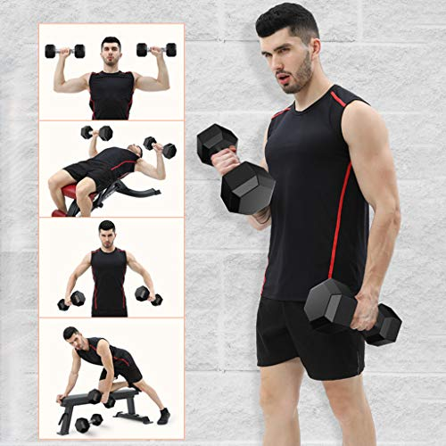 LA GUAPA Rubber Encased Hex Dumbbell with Metal Handles Heavy Dumbbells Choose Weight in Pairs or Singles (A)