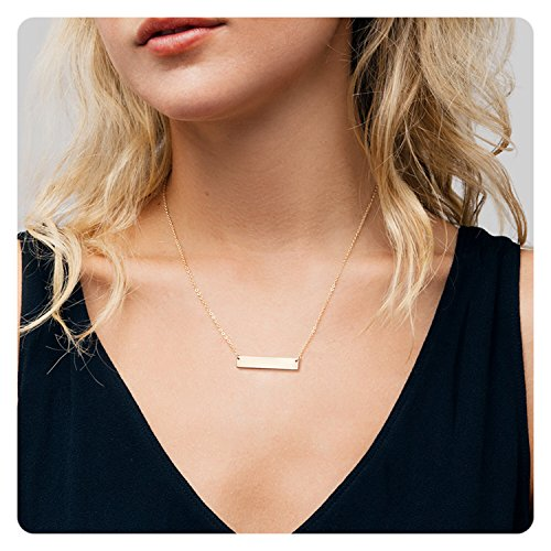 Fremttly Womens Simple Delicate Handmade 14K Gold Filled Bar Necklace Chain Friendship (14k Gold Filled Chain Necklace)